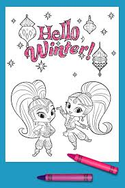 Winter Fun Coloring Pages Printable With Shimmer And Shine Page