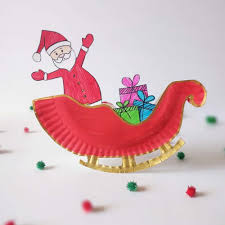 make a rocking santa sleigh out of a paper plate a cute holiday craft for