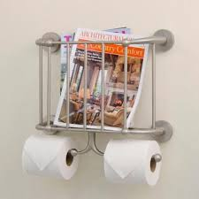 Toilet Paper Holder With Magazine Rack Brushed Nickel