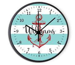 Custom Nautical Anchor Personalized Decorative Kitchen Wall Clock, Bedroom  Personalized Wall Clock, Nursery Decor, Kids Decorative Clock, ...