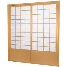 natural shoji 2 panel sliding door shoji door natural the home depot