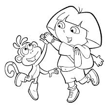coloring page dora explorer pages and boots high five in the free friends