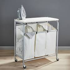 Laundry furniture White Foldableironnsortcentershf16 Crate And Barrel Triple Laundry Sorter With Ironing Board Reviews Crate And Barrel