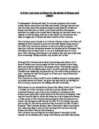 is friar lawrence to blame for the deaths of romeo and juliet  page 1 zoom in