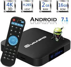 Buy EVANPO Android 7.1 Smart TV Box Quad Core CPU 2GB 16GB with  3D/4K/2.4GHz WiFi/H.265 Google TV Box Android TV Player Media Box Online in  Ukraine. B07F87P1ST