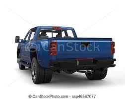 Royal blue pickup truck - back view.