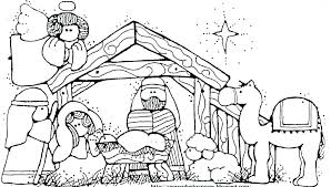Christmas Nativity Coloring Pages For Adults With Printable Scene