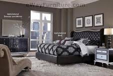 aico bedroom furniture. aico starry night queen tufted black leather \u0026 crystal bed bedroom set furniture aico