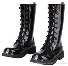 free men s knee high boots black punk patent leather lace up shoes martin cowboy combat army boots us size 6 10