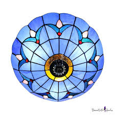 ceiling lights tiffany style flush ceiling light blue stained glass inch mount in mission semi