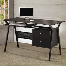 Black powder coated metal and black glass computer desk with two storage  drawers. ProductFeatures.