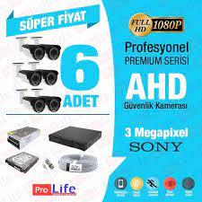 6 Kameralı SONY AHD 1080P 3 MP FULL HD Çözünürlük Gece Görüşlü Güvenlik  Kamera Sistemleri - Güvenlik Kamerası