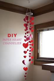 diy paper hearts chandelier