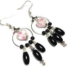 long hoop earrings black pink glass heart bead chandelier clip on hook or 925 silver