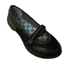 keds black womans 8m leather synthetic casual mary janes flats hook loop shoes