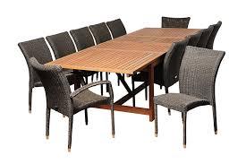 ia marquette 13 piece eucalyptus wicker extendable rectangular dining set
