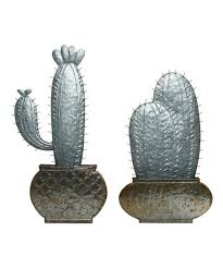 galvanized metal cactus wall décor