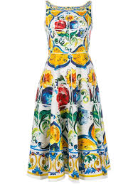 dolce gabbana maoilica print sleeveless dress women clothing dolce and gabbana the one edp d g dress outlet