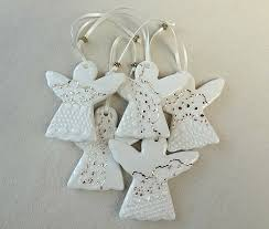 Porcelain Christmas decorations. White & gold. Ceramic. Ornaments ...