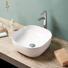 china 7694 ceramic bathroom oval square thin edge counter top water fountain sink with faucet hole