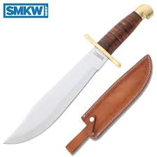 marbles bowie stainless steel blade stacked leather handle