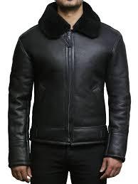 men s aviator b3 real shearling sheepskin leather er flying pilot jacket mark jpg