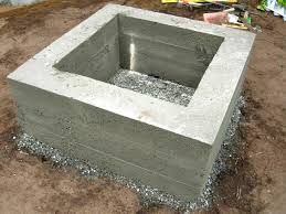 Concrete patio with square fire pit Square Brick Step Diy Network How To Make Concrete Fire Feature Howtos Diy