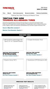 Tire Rack Review Chart Testing Two New Touring All Season Tires Tire Rack Email