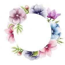 Circle Border Beautiful Anemone Flowers Circle Border Vector Premium