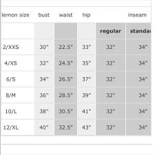 forever 21 pants size chart lululemon athletica intimates sleepwear lululemon size chart