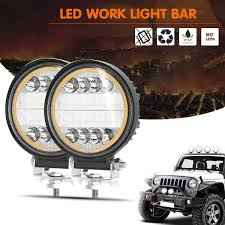 Yellow Light Bars For Trucks Amazon Com Led Work Light Bars 2pcs 4 6inch 30w Round Led