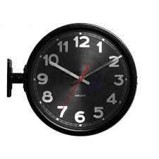 double sided wall clock the double sided wall clock in black is ideal in a restaurant double sided wall clock
