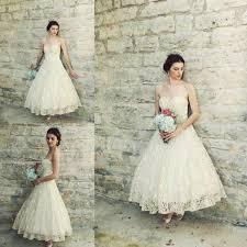 vintage 1950s tea length wedding dresses antique ivory lace a line