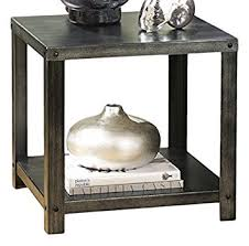 contemporary metal furniture. Ashley Furniture Signature Design - Hattney Contemporary End Table Industrial Style Square Black Metal