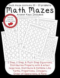 no prep ready to print math mazes covering the following math concepts order of solving equationsmath equationstwo step