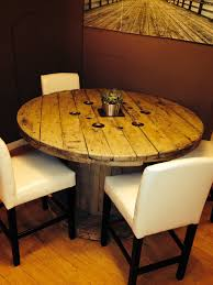 Cable spool table--cozy eating area.