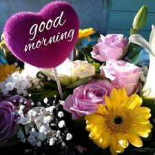 good morning heart and flowers