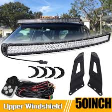 99 Tahoe Light Bar Led Light Bar Dot 50 Inch For 99 06 Chevy Silverado Gmc Sierra Chevrolet Suburban Tahoe Yukon Upper Roof Mounting Brackets Spot Flood 4 Pcs Wind