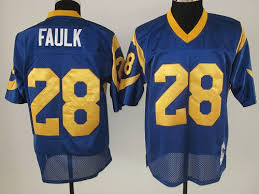 Blue Nfl And Cheapest Mitchell With Shipping 28 Ness Stitched Marshall Free Faulk Rams Jersey Sale