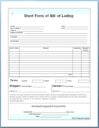 Short Form Bill Of Lading Template Bill Lading Template Incrediclumedia Me