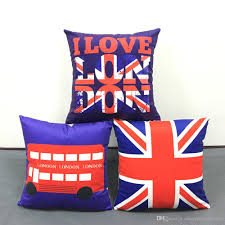 british vine style cushion cover i love london bus union jack uk flag cushion covers home decorative soft pillow case for car sofa replacement outdoor