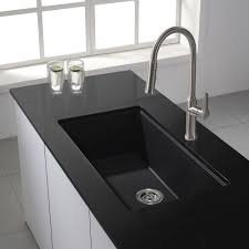 Composite Granite Kitchen Sinks Kraus Kgu 413b Universal Black Onyx Undermount Single Bowl Kitchen