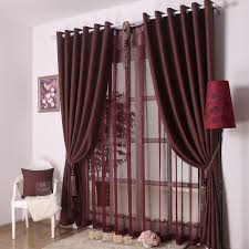 curtains for living room. dark red curtains with silver bar for elegant modern living room interior decorating ideas