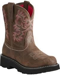 zoomed image ariat fatbaby women s pink stitching cowgirl boots round toe brown