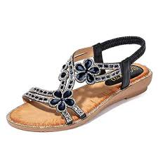 OutTop(TM) Women's Flat Bohemia <b>Sandals Bling</b> Flower <b>Crystal</b> ...
