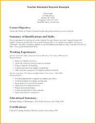 Example Resumes For Teachers Preschool Teacher Assistant Resumes Resume Sample Skills Mysetlist Co