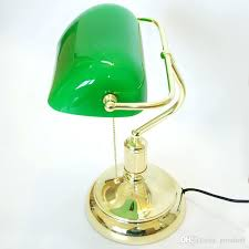 glass lamp shades vintage beautiful table bank lamps retro brass bankers green antique