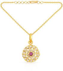 malabar gold diamonds uncut diamond and ruby classic fashion pendant 22k 916 yellow gold pd6704