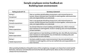sample employee evaluations employee evaluation form sample comments templates resume