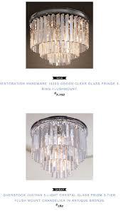 restoration hardware 1920s odeon clear glass fringe 3 ring flushmount 2195 vs justina 5 light crystal glass prism 3 tier flush mount chandelier